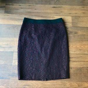 •LOFT• Wine Lace Pencil Skirt